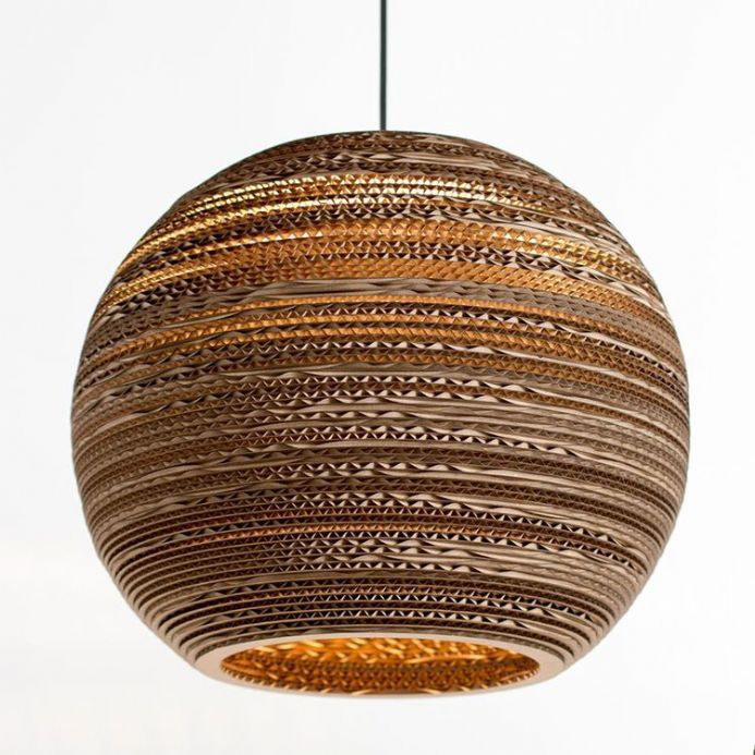 "Large sphere lampshade (16"") made from recycled cardboard"